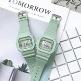 ins超火獨角獸手錶女學生韓版原宿風抹茶綠運動防水小方塊電子表 時尚芭莎