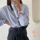 條紋襯衫女外穿春秋寬鬆長袖上衣服氣質外套【橘社小鎮】