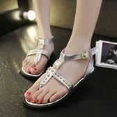 羅馬涼鞋-鉚釘時尚個性休閒百搭女平底涼鞋73ey15【巴黎精品】
