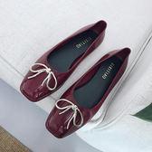 韓國復古酒紅色蝴蝶結淺口方頭單鞋甜美淑女芭蕾平底鞋果凍鞋春秋DSHY