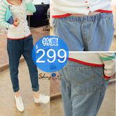 【J20418】shiny藍格子-休閒風潮.百搭好穿鬆緊腰牛仔哈倫長褲