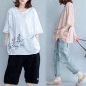 大碼女裝200斤夏裝顯瘦民族風中長款加肥加大寬鬆印花短袖t恤 降價兩天