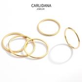 戒指 5件套 韓國女生細戒指小指尾戒IPG18K玫瑰金食指關節戒環閨蜜戒指 【免運】
