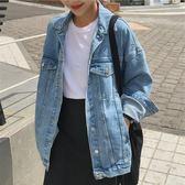 牛仔外套 復古港風chic麻葉雙色工裝夾克男女同款寬鬆bf牛仔外套情侶款上衣 巴黎衣櫃