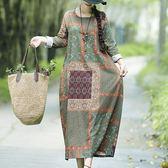 棉麻 古典印花優雅洋裝-中大尺碼 獨具衣格