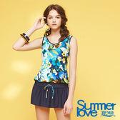 【Summer Love 夏之戀】加大碼印花連身裙二件式泳衣(S18718)