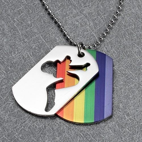 彩虹雙層項鍊 鈦鋼 316精鋼 TP 蕾絲邊 同性 熊 BOTH LES GAY 和平手鍊 手環 沂軒精品 F0082