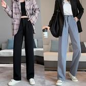 促銷全場九五折 灰色直筒西裝褲女秋季高腰垂感休閑褲寬松顯瘦胯大腿粗闊腿長褲子
