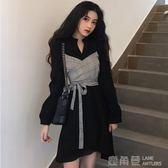 2018秋裝新款氣質收腰裙子假兩件格子拼接交叉繫帶襯衫洋裝女裝 鹿角巷