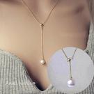項鍊。AngelNaNa 優雅 銅鍍銀 Y字 珍珠 可調式 女 鎖骨練 (SRA0023)