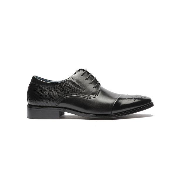 Waltz-經典牛皮拉絲感紳士鞋211019-02黑