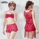 長版流蘇罩衫 + 有鋼圈比基尼三件式泳衣組 狂魅勾人 - 香草甜心 經典棗紅