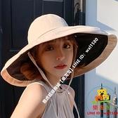 防曬帽 夏季超大帽檐遮陽帽漁夫帽子女大沿帽防曬太陽帽遮臉防紫外線全臉 樂淘淘