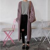 秋冬女裝韓版中長款寬鬆純色毛衣開衫慵懶風長袖針織衫上衣外套潮   後街五號
