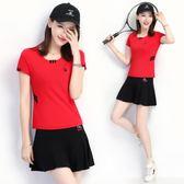 天天新品羽毛球服套裝短袖短裙網球運動服乒乓球服防走光褲裙夏女兩件套潮