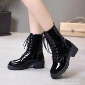 馬丁靴女英倫風復古厚底系帶中筒靴子帥氣機車靴騎士靴短靴女 雙十二全館免運