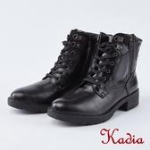 kadia.街頭率性魅力綁帶中筒軍靴(8701-99黑色)