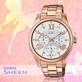CASIO 手錶專賣店 CASIO 手錶 SHE-3806PG-7A SHEEN 女錶 指針錶  真皮錶帶 50米防水 礦物玻璃