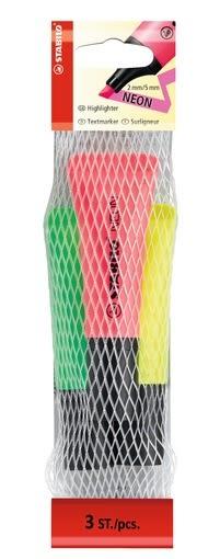 STABILO NEON系列 螢光筆 3支裝 (黃,綠,粉 3支) 型號:72/3-1