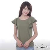 Victoria 緞帶荷葉短袖T-女-軍綠-V8535148
