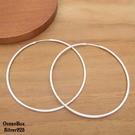 §海洋盒子§1.5mm寬6cm亮面超大圈圈925純銀針式耳環.圈圈耳環