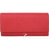 CELINE 大型 珠地小牛皮翻蓋釦式長夾(紅色) 1930029-54