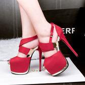 性感超高跟鞋子 細跟絨面防水臺鏤空 顯瘦魚口涼鞋《小師妹》sm1419