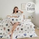 [小日常寢居]#B234#100%天然極致純棉3.5x6.2尺單人床包+雙人舖棉兩用被套+枕套三件組台灣製