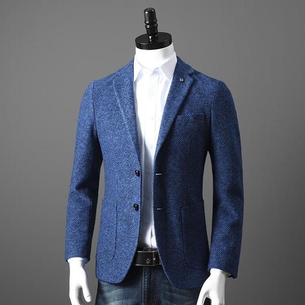 西裝外套 重磅牛貨 19羊毛 外貿工廠男裝剪標時尚休閒毛呢西服西裝外套單西