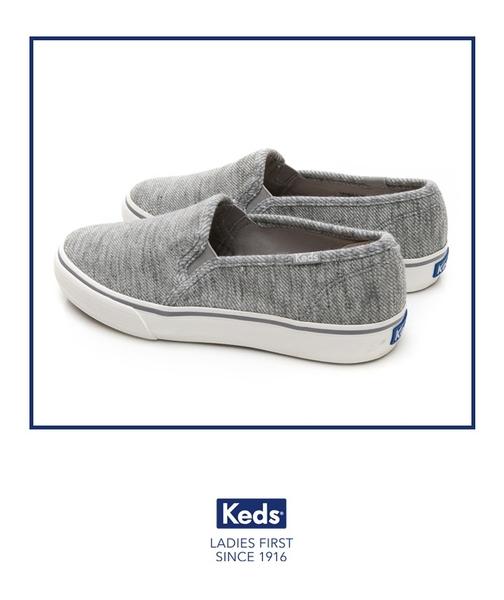 Keds 女鞋 DOUBLE DECKER 斜紋布面休閒便鞋-淺灰 83W132631