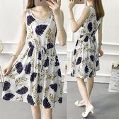 洋裝 綿綢洋裝女新款修身顯瘦中長款無袖人棉印花沙灘背心裙 卡菲婭