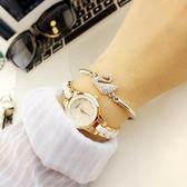 手錶女學生韓版簡約休閒大氣時尚潮流復古手鍊表女士防水石英女表梗豆物語