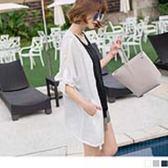 《EA1914》質感純色反褶袖造型細皺開襟罩衫/外套 OrangeBear