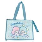 小禮堂 雙子星 方形尼龍保冷便當袋 保冷提袋 野餐袋 手提袋 (藍 星星) 4713218-20213