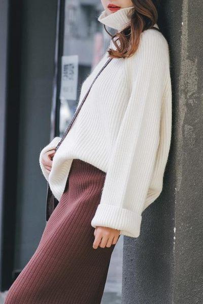 全館85折秋冬慵懶風白色高領毛衣女中長喇叭袖針織 森活雜貨
