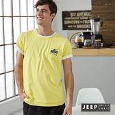 【JEEP】美式簡單生活短袖TEE (鮮黃)