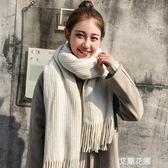 新款纯色围巾女冬季韩版百搭长款学生少女针织毛线加厚流行围脖秋『艾麗花園』
