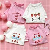 日系草莓狗狗衣服夏裝泰迪薄款夏季貓咪衣服幼貓寵物        瑪奇哈朵