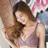 【玉如內衣】微醺巴黎內衣。機能。蕾絲。副乳。深V。托高。B.C罩。台灣製。※0309芋紫