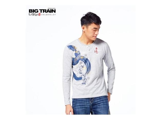 BIG TRAIN 和風魚影半開襟長袖T-男