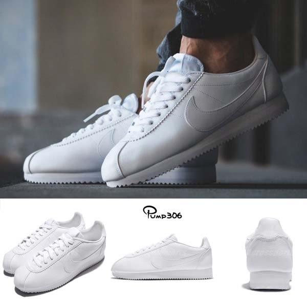 Nike 復古慢跑鞋 Classic Cortez Leather 全白 白 皮革 阿甘鞋 男鞋 女鞋【PUMP306】 749571-111