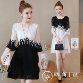 大尺碼洋裝 女裝新款短袖寬松顯瘦連身裙蕾絲黑白時尚花邊 轉角1號