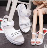 鬆糕鞋2019夏新款平底低跟平跟鬆糕跟厚底女涼鞋百搭韓版防滑女鞋學生鞋 萊俐亞