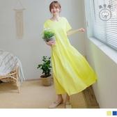 《DA7916-》舒適高含棉傘襬拼接雙口袋寬版長洋裝 OB嚴選