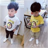男童長袖t恤春秋款假2件體恤中小兒童2-3-56歲寶寶卡通上衣韓花間公主