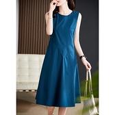 洋裝 大碼連身裙經典回歸Ji簡無袖收腰顯瘦羊毛小灰裙連身裙D303A快時尚