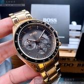 BOSS伯斯男錶44mm黑色錶面玫瑰金色錶帶