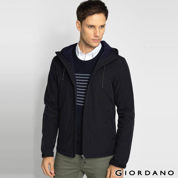 GIORDANO 男裝- 高領連帽 修身防風外套 -09標誌黑