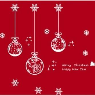 ►全區69折►壁貼 新年聖誕裝飾牆貼 雪花吊球 純白色玻璃靜電貼櫥窗商店貼紙【A3093】