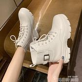 馬丁靴女冬加絨英倫風女靴子2021年新款棉鞋白色厚底百搭韓版短靴 韓國時尚週